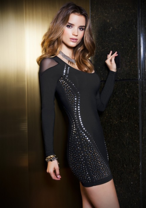 bebe studded black dress