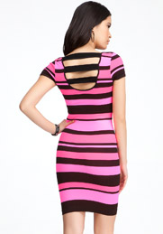 pink bebe stripe bodycon dress