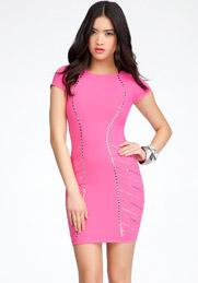 bebe pink studded dress