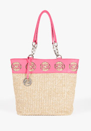 pink bebe straw tote