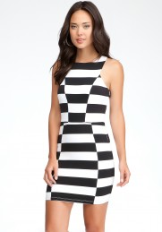 striped bebe dress